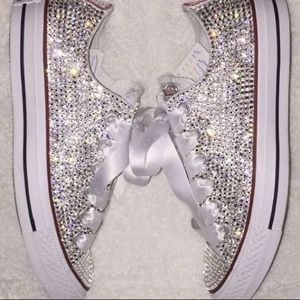Blinged out ICEY white converse CUSTOMS